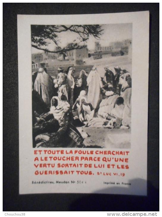 """IMAGE Pieuse Et Toute La Foule Cherchait à Le Toucher ... St Luc VI 19"""" (BENEDICTINES DE MEUDON N° 504 K) - Religion & Esotericism"""