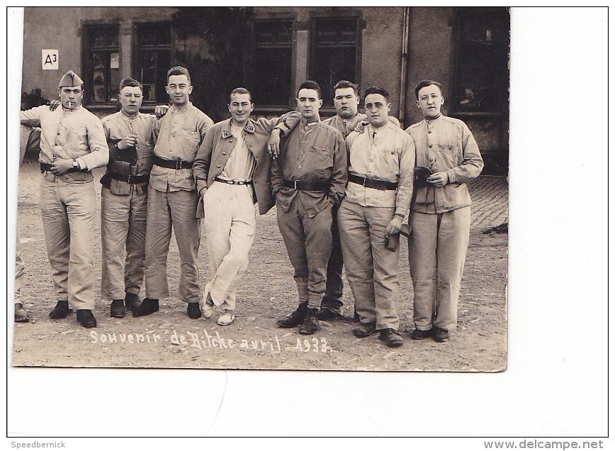 25671 Carte Photo Souvenir De Bitche Avril 1933 -militaire Homme Soldat ! état Coupé ! - Personnages