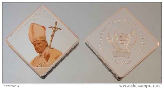 Congo RDC 10 Francs 2007 JP2 Square Argent Pape Jean-Paul II - Kongo (Dem. Republik 1998)
