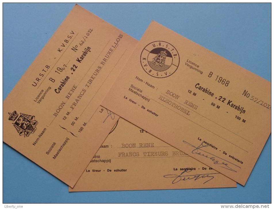 U.R.S.T.B. - K.V.B.S.V. Licence / Vergunning Carabine .22 Karabijn / Anno 1967/68 ( Zie Foto´s Voor Details) ! - Organisaties