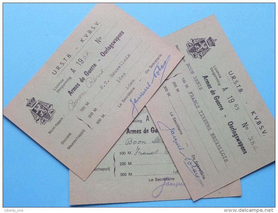 U.R.S.T.B. - K.V.B.S.V. Licence / Vergunning Armes De Guerre - Oorlogswapens / Anno 1965/66/67 ( Zie Foto´s Details) ! - Organizaciones