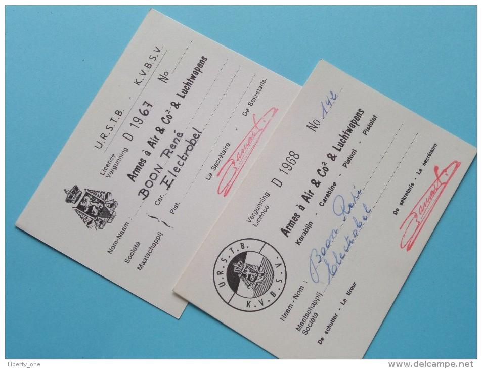 U.R.S.T.B. - K.V.B.S.V. Licence / Vergunning Armes à Air & Co2 & Luchtwapens / Anno 1967/68 ( Zie Foto´s Details) ! - Organizaciones