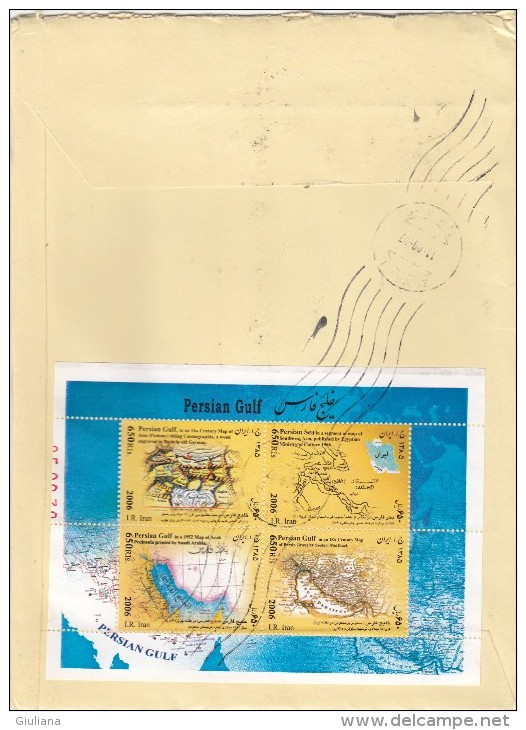 Iran  2007 - Lettera. X L´Italia Affrancata Con 13 Stamps + Foglietto - Iran