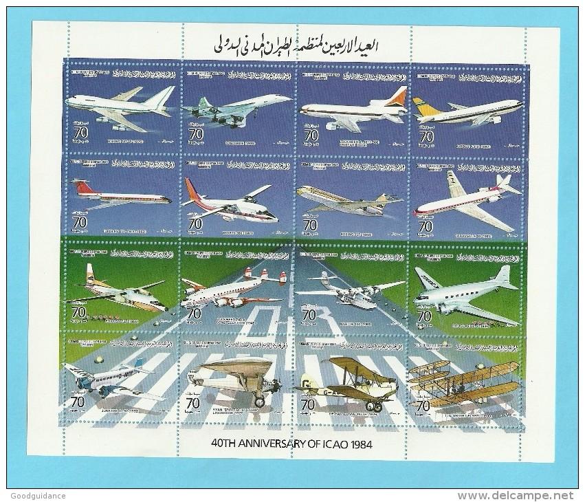 1984 - Libya - Aviation Airplanes  ICAO -Minisheet MNH** - Libia