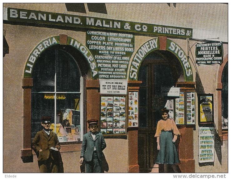 Postcard Litho And Stationery Dealer Beanland And Malin Main Street Advert Kodak - Gibraltar