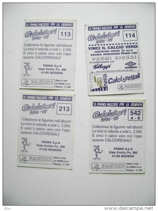 4  FIGURINE  CALCIATORI  PANINI  ANNO  1996/1997  COME DA FOTO  CALCIO FOOTBALL  SOCCER  FUTBOL FOTBOLL  FOTBALOVY - Panini