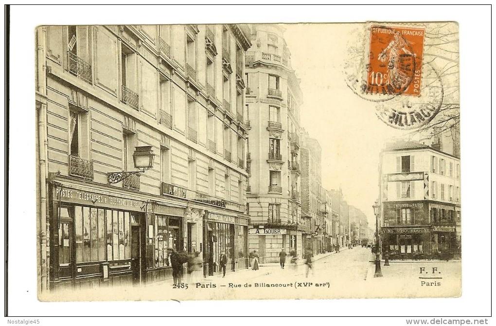 2485 F.F.  Paris,  La Rue De Billancourt XVI Arrt - Timbre Recto 1910 - 2scans - France