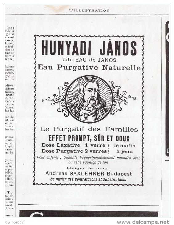 1911 Laxatif  Hunyadi Janos Dite Eau De Janos  Purgative Laxatif Andreas Saxlehner Budapest - Publicités