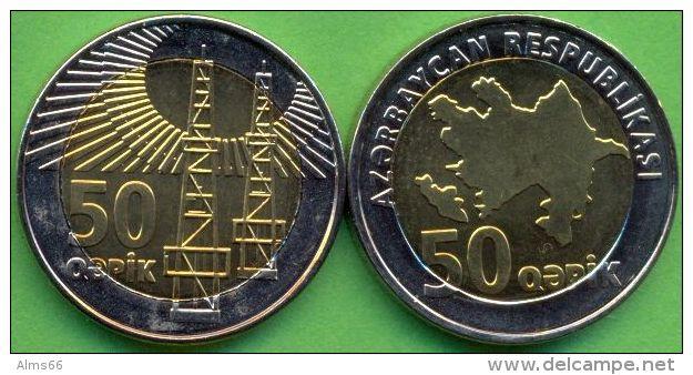 Azerbaijan 2006 (ND) 50 Qapik Coin Bi-metal Bimetal KM#44 UNC / BU !!! - Azerbaïjan