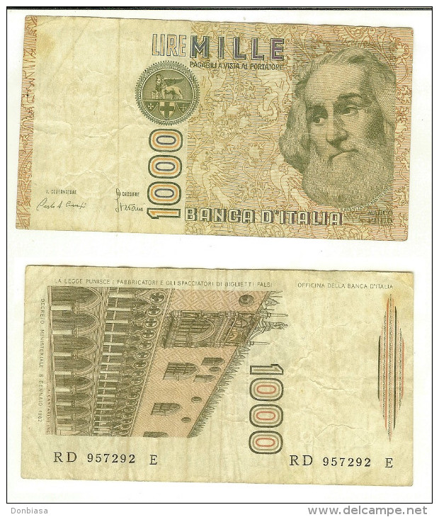 1.000 Lire Marco Polo 1985 - Lettera D - 1000 Lire