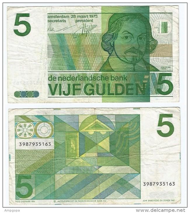 Países Bajos 5 Gulden 1973 Pick 95.a Ref 470 - Sin Clasificación