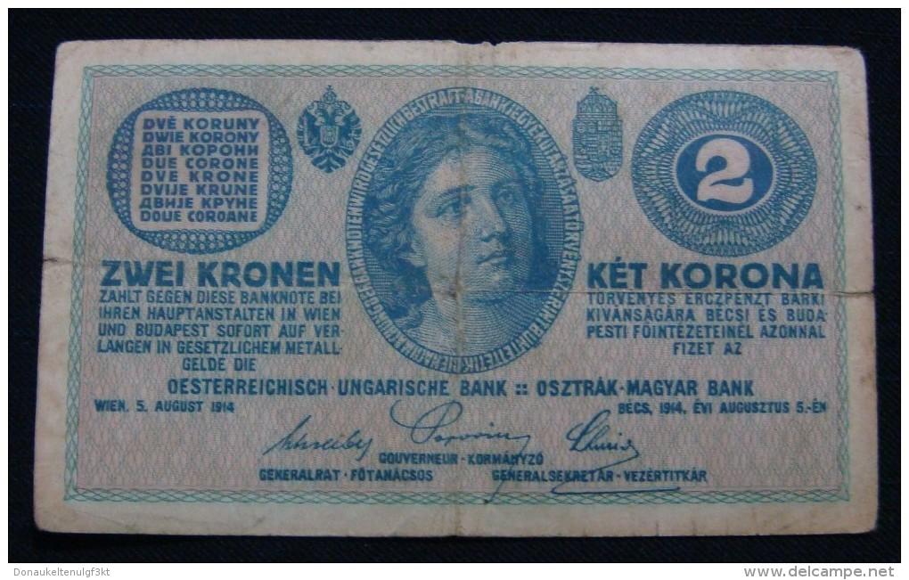 AUSTRIA 2 KRONEN 1914 PICK- 17b. VF., SERIAL# C - 419392 1261 - Oesterreich