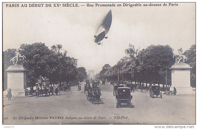 Aviation - Dirigeables - Paris Début XXème - Dirigeable Militaire Patrie Champs-Elysées - Attelage - Dirigibili