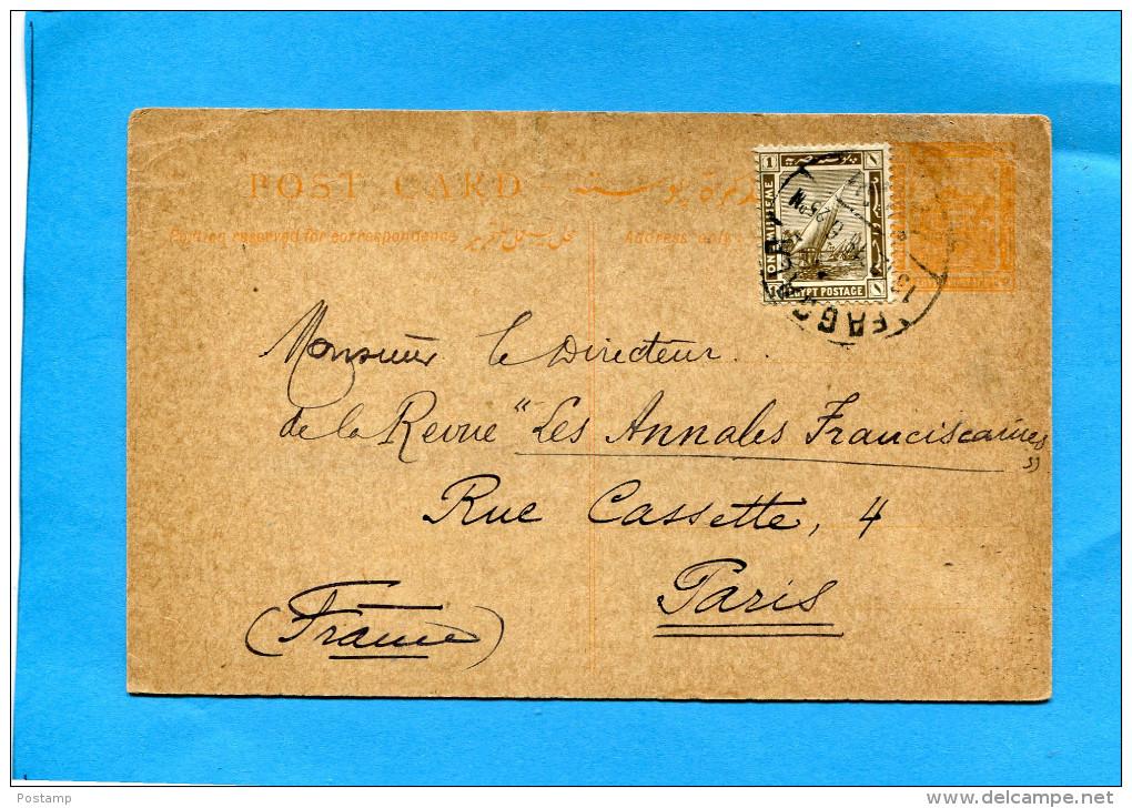 Marcophilie- Cp Entier Postal 3 Mil+ Complément Affr 1 Mil-cad  Dec 1918 >France - Égypte