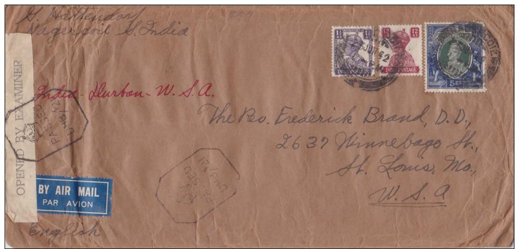 India; Censored Cover To USA 1942 - India (...-1947)