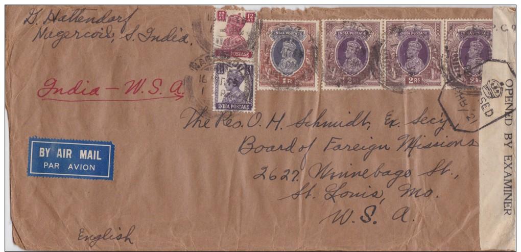 India; Censored Cover To USA 1943 - India (...-1947)