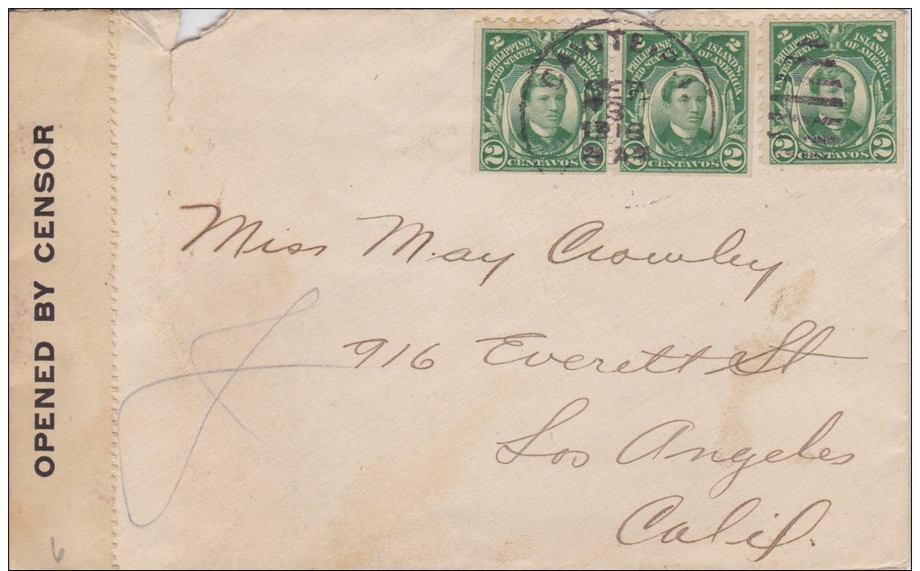 Philippines; Censored Cover To USA 1918 W. Booklet Stamps - Filipinas