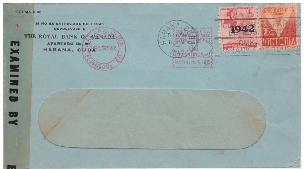 Cuba; Censored Cover To USA 1942 - Uprated W. Meter Cancel - Cuba