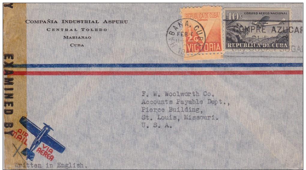 Cuba; Censored Cover To USA 1944 - Cartas