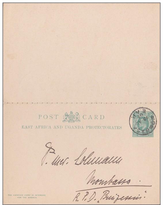 East African Protectorate; Local Double Postal Card 1907 - Kenya, Uganda & Tanganyika
