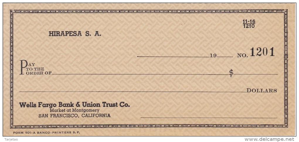 BILLETE DE ESTADOS UNIDOS DE WELLS FARGO BANK & UNION TRUST Co.  (TALON) HIRAPESA S.A. - Sin Clasificación