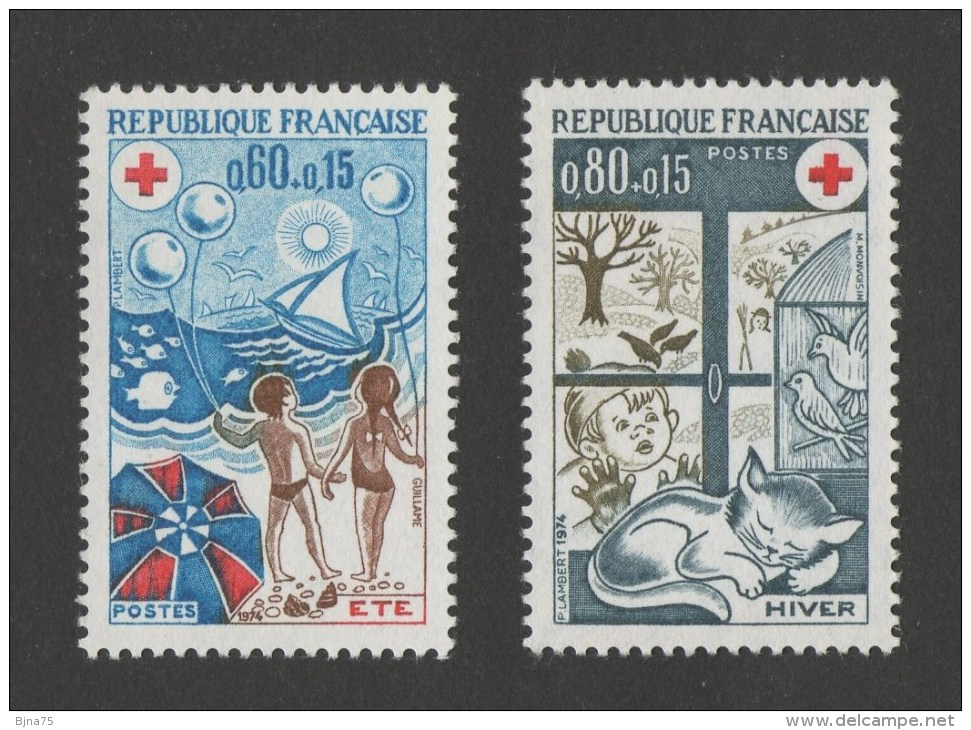FRANCE Croix-Rouge  1974  N° YT 1828 ** &  1829 **   MNH  -   Les Saisons Eté Et Hiver - Cote 1.45 Euro - Nuovi