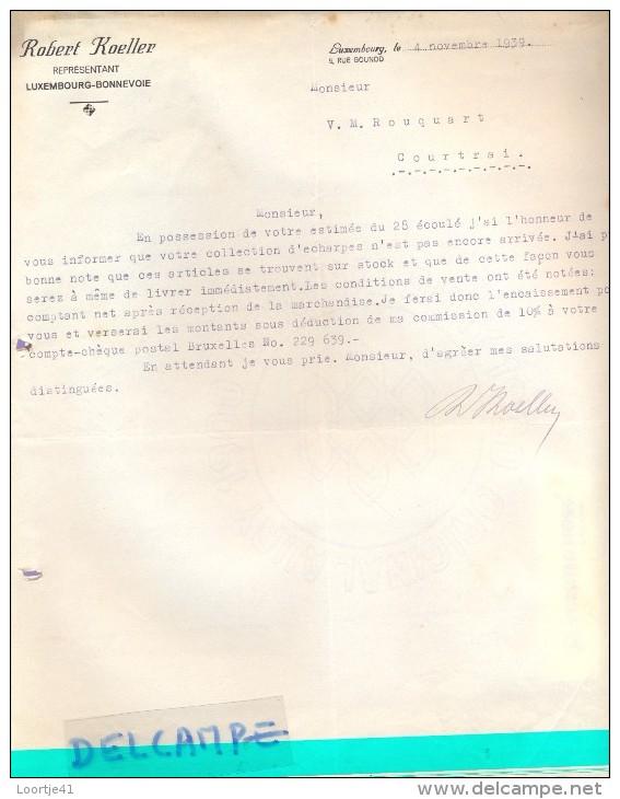 Factuur Facture - Lettre - Robert Koeller - Luxembourg - Bonnevoie 1939 Naar Kortrijk - Luxemburgo