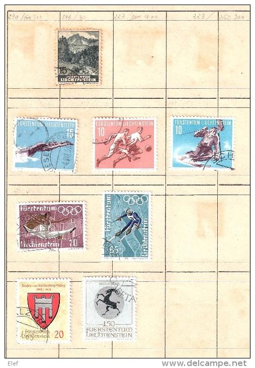 LIECHTENSTEIN , Ensemble De 28 Timbres Neufs ** /* / O, Années 30-60 Dont Poste Aérienne , 2 Scans,TB - Liechtenstein