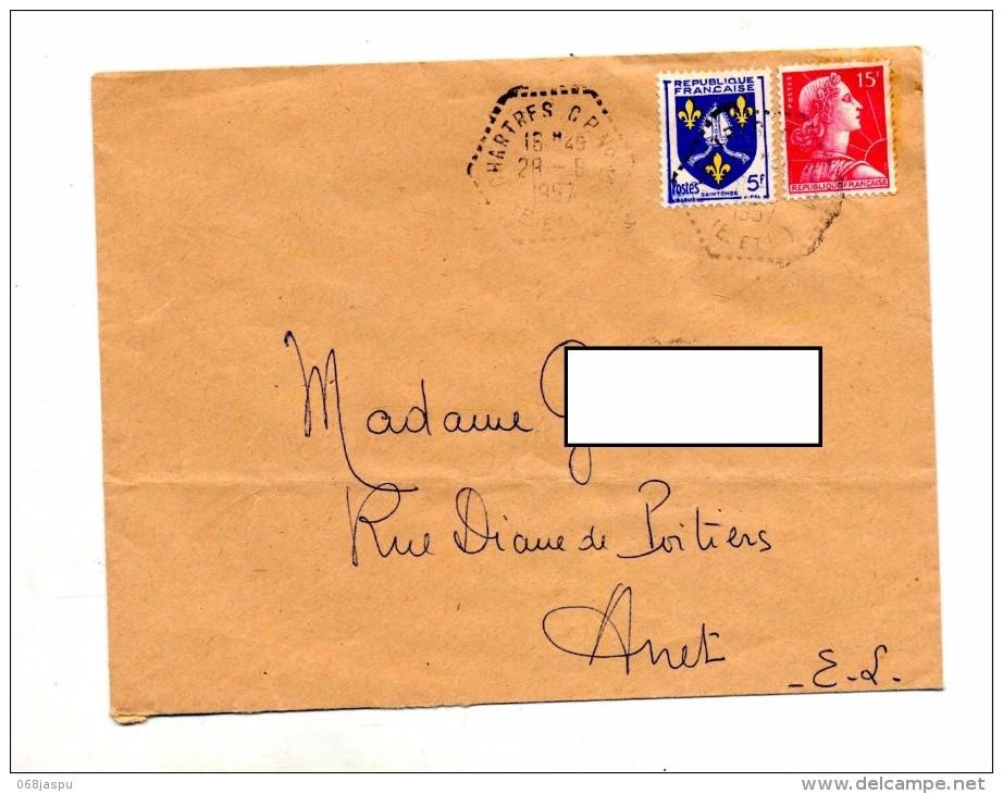 Lettre Cachet Rural Chartres Sur Muller - Storia Postale