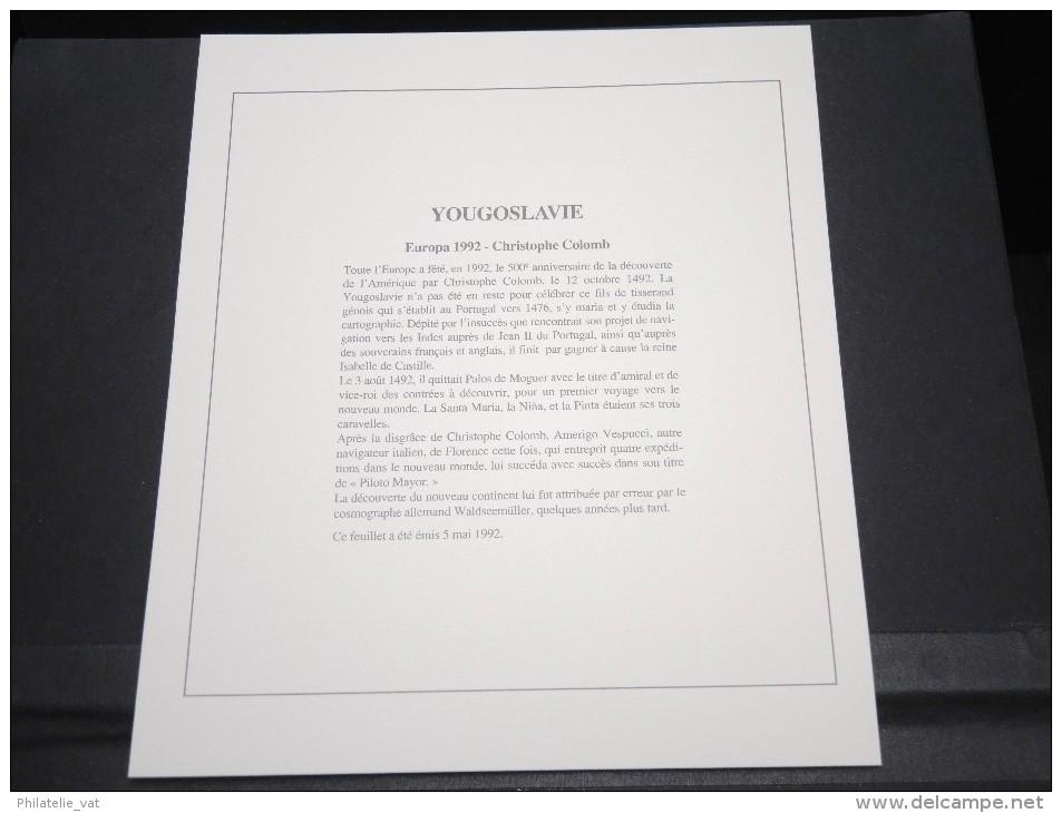 YOUGOSLAVIE - Bloc Luxe Avec Texte Explicatif - Belle Qualité - À Voir -  N° 11769 - Blocs-feuillets