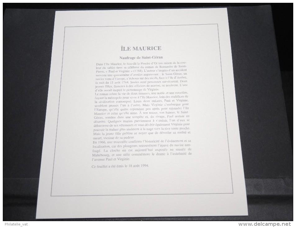 ILES MAURICE - Bloc Luxe Avec Texte Explicatif - Belle Qualité - À Voir -  N° 11800 - Maurice (1968-...)