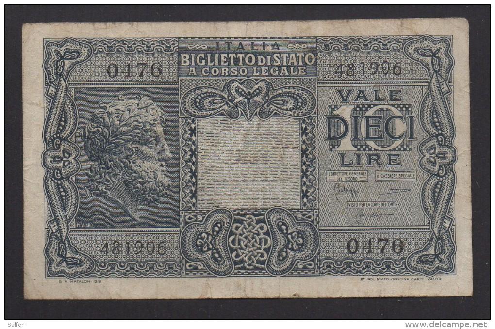ITALIA REGNO  L. 10  GIOVE 23/11/1944  BB - [ 1] …-1946: Königreich