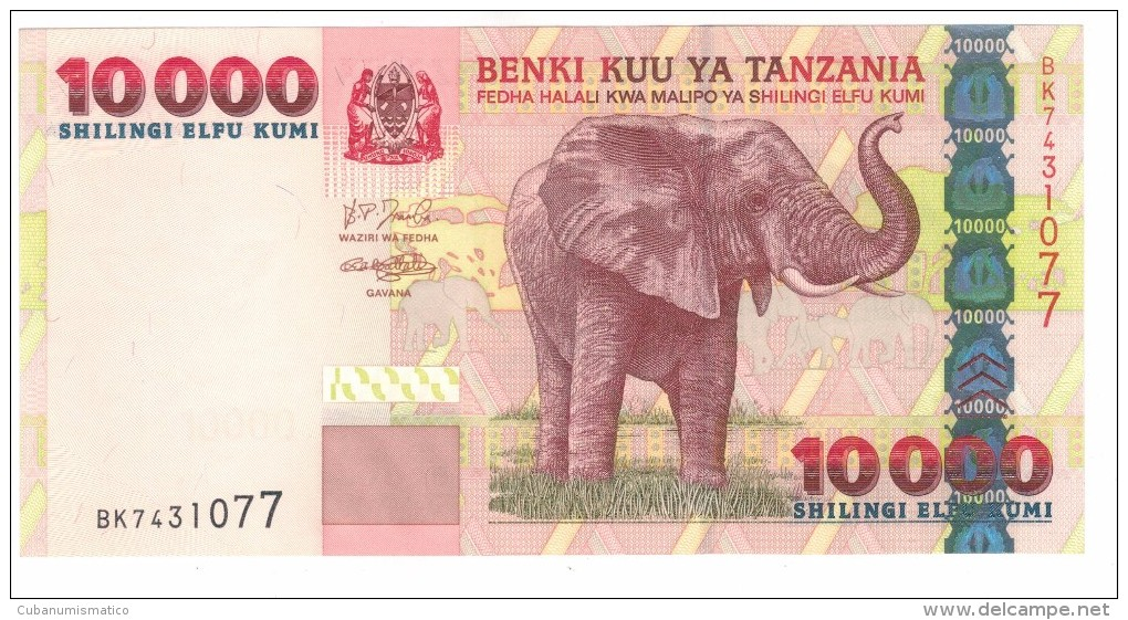 Tanzania 10000 Shill. UNC, Free Ship. To USA. - Tanzania