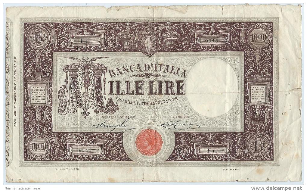 1000 LIRE MATRICE  23.05.1915   RARA 5 REGNO D'ITALIA STRINGHER -SACCHI - NON RESTAURATA - 1000 Lire