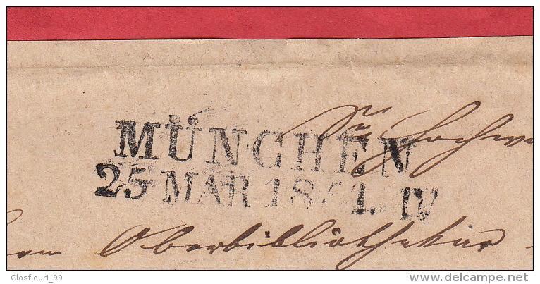 Brief Von Münich 25 MAR 1854 / Ein Silber Bayern / D.h. Vorseite Des Briefes - Bavaria