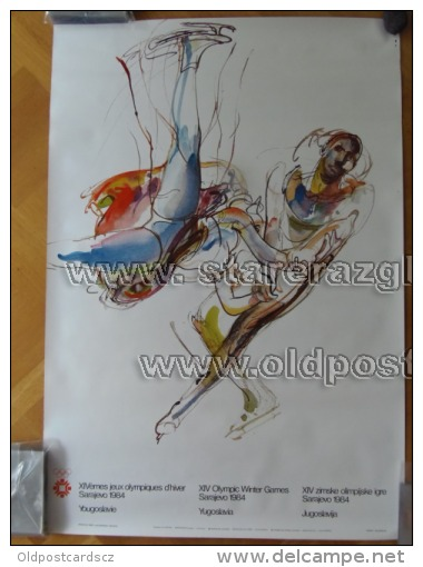 Sarajevo Olympic Winter Games 1984 100x70 Cm 39x27 Inch Figure Skating ORIGINAL - Manifesti