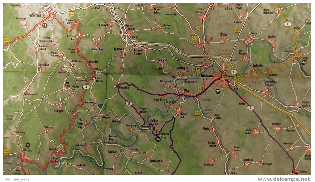 ARAL BV-Tourenkarte Taunus  -  Von Ca. 1955 - 1 : 125.000  -  Ca. Größe : 68 X 57 Cm - Maps Of The World
