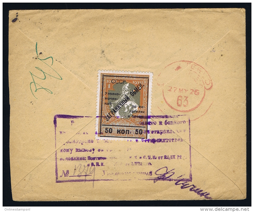Registered Early Airmail Cover Moscow To London UK, With Michel 306A + 306 B In Pairs + Gebührmarke 11, 1926 - 1923-1991 USSR