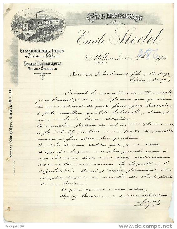 FACTURE Thème Cuir ,tannerie , Corroirie émile SIEDEL  à Millau Aveyron 1904 - 1900 – 1949