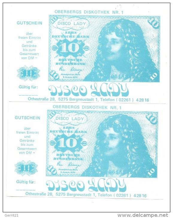 BANKNOTEN - 10 DEUTSCHE MARK, Diskotheken Gutschein, 2 Stück - Fiktive & Specimen