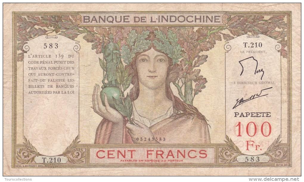 BILLET 100 FRANCS De 1959 De TAHITI Papeete - Banque De L'indochine Surcharge Papeete Polynesie Francaise - Papeete (Polynésie Française 1914-1985)