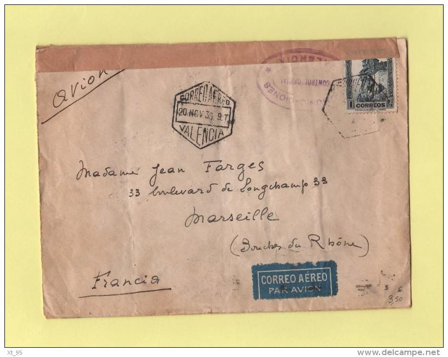 Espagne - Par Avion Destination France - Censure - Control Oficial Valencia - 20 Nov 1936 - Valence - Nationalistische Zensur