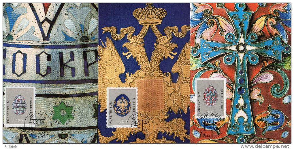 """3 Cartes Maximum De 2001 """" OEUFS EN PORCELAINE """". Parfait état. CM - Stamps"""
