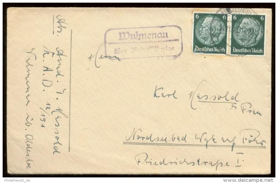 19443 DR RAD 12 / 151 Brief Landpost Stempel Wulmenau über Bad Oldesloh - Wyk Auf Föhr 1940 ,Bedarfserhaltung Ohne Inh - Cartas