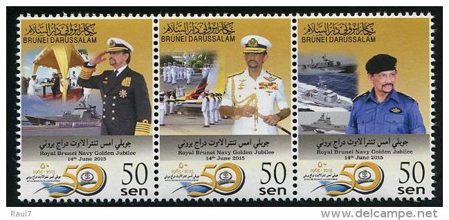 BRUNEI 2015 - Golden Jubilée De La Marine Royale - 3 Val Neufs // Mnh - Brunei (1984-...)