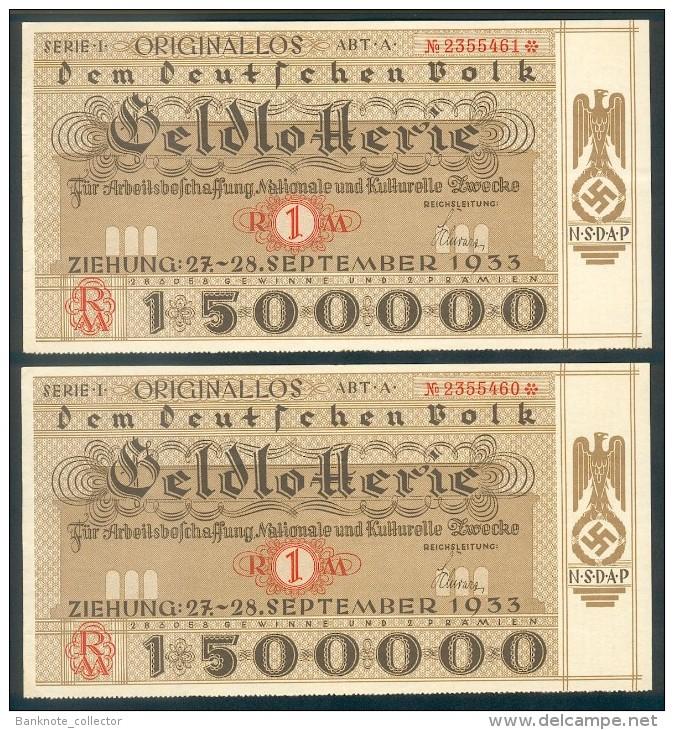 """Deutschland, Germany - """" Dem Deutschen Volk """", 2 X GELDLOTTERIE, FOTO & DOKUMENT Der NSDAP, 1933 ! - [ 4] 1933-1945 : Terzo  Reich"""