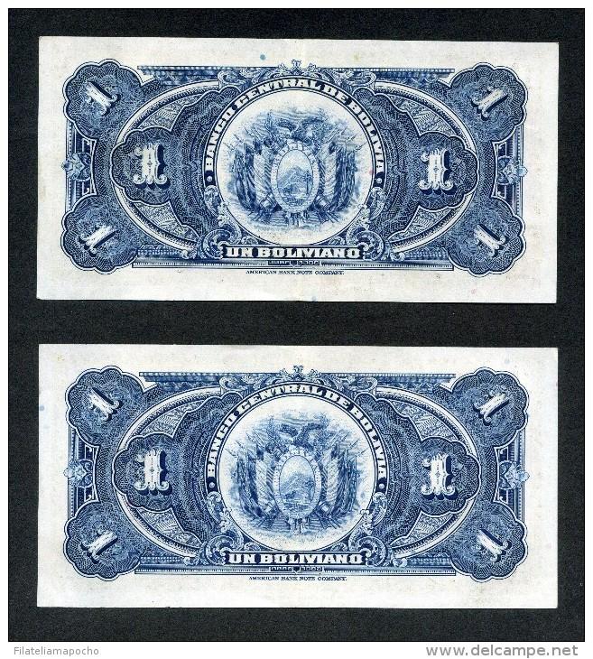 BILLETES BOLIVIANOS DE 1 BOLIVIANO DE 1928. - Bolivië