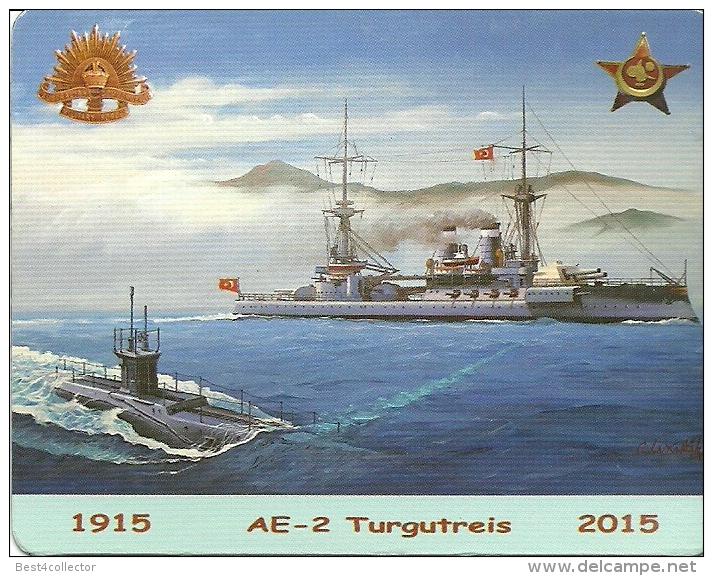 @@@ WWI GALLIPOLI WAR MEMORIAL MAGNET, AE-2 SUBMARINE AND TURGUT REIS WARSHIP, 9x7 CM - Magneti