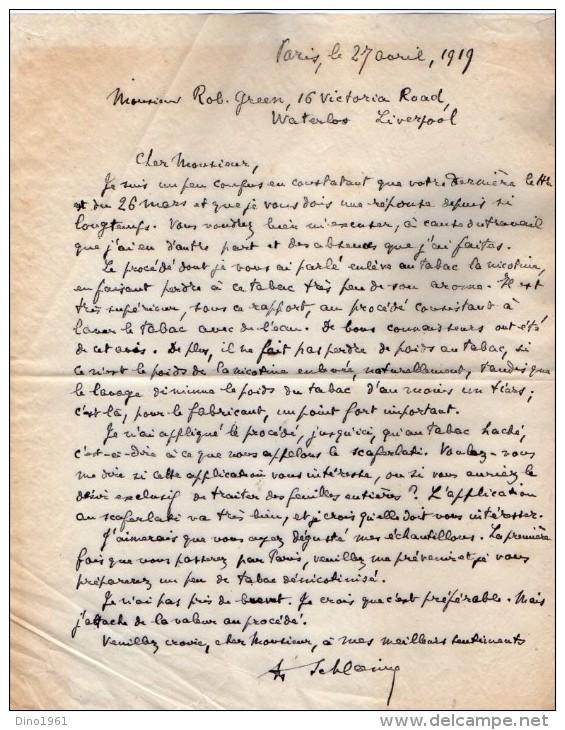 VP3514 - Lot De Documents Concernant Le Tabac à PARIS Pour LIVERPOOL & BRISTOL Tabacco Company - Documents