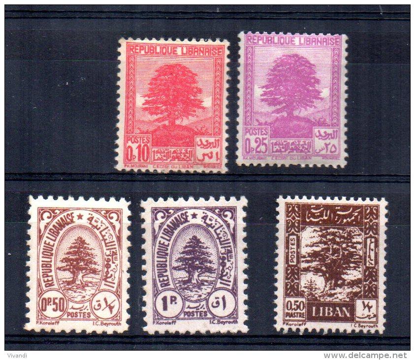 Lebanon - 1937/47 - 5 Definitives/Cedar Trees - MH - Liban
